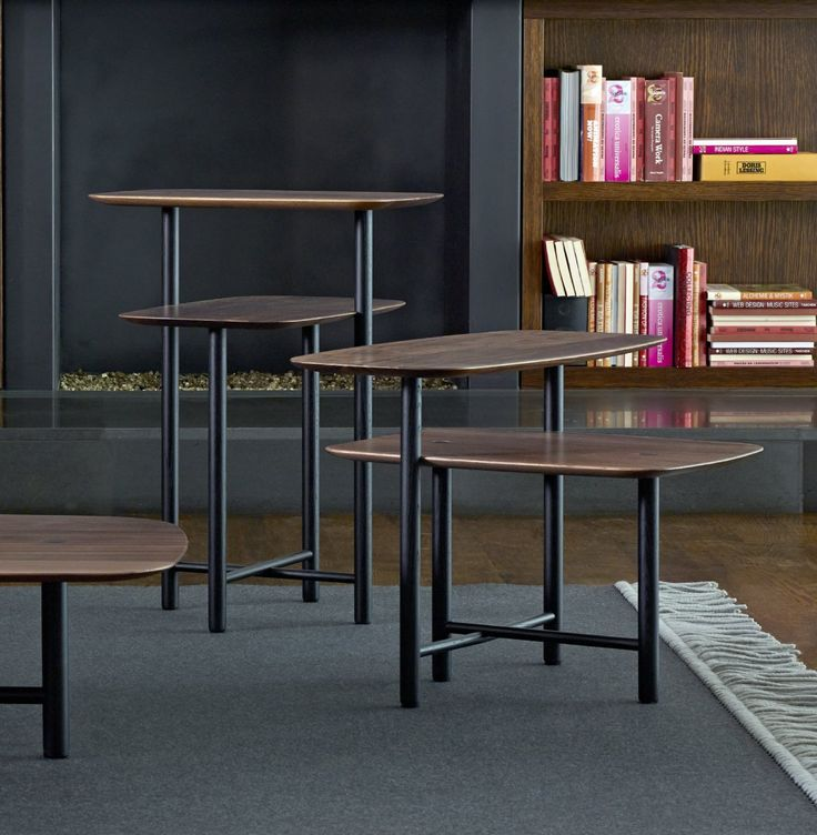 PIANI.  Family of tables in solid American walnut with black ash details in choice of 3 sizes.  Low table 85 x 85 c H 36 cm   Side table 48 x 48 x H 60 £432  Bedside table 63 x 50 x H 43 cm