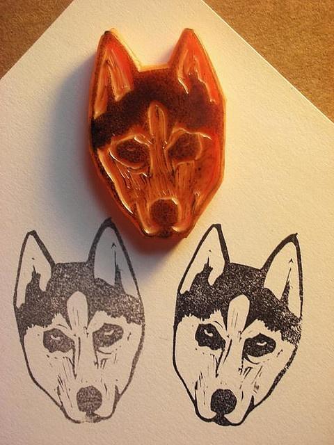 Huskie DIY rubber stamp carving! @Holly Hanshew Hanshew Hanshew Hanshew Avendano