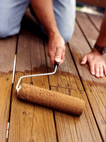 In just a weekend, you can refresh your deck. Friday night: Remove all furniture and other items from the deck. Saturday morning: Pressure-wash the deck to remove dirt; use warm water, soapy water and a scrub brush to remove old mold and mildew. Sunday morning: Stain the deck using a paint roller. The deck should be walkable by nightfall. Bring your furniture back Monday night.