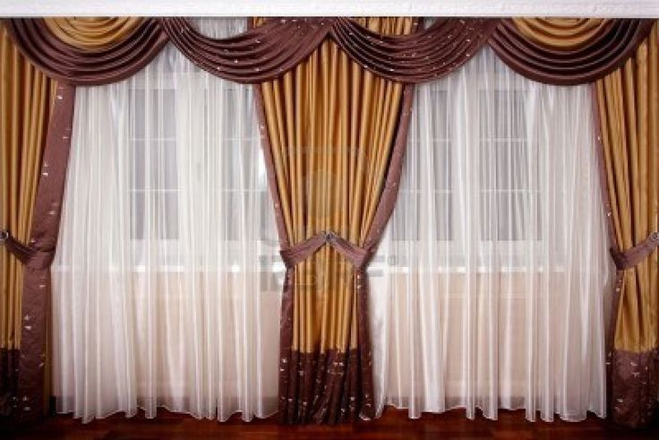 Luxury Drapes Beautiful White Silk And Brown Round Curtain For Minimalist Windows In