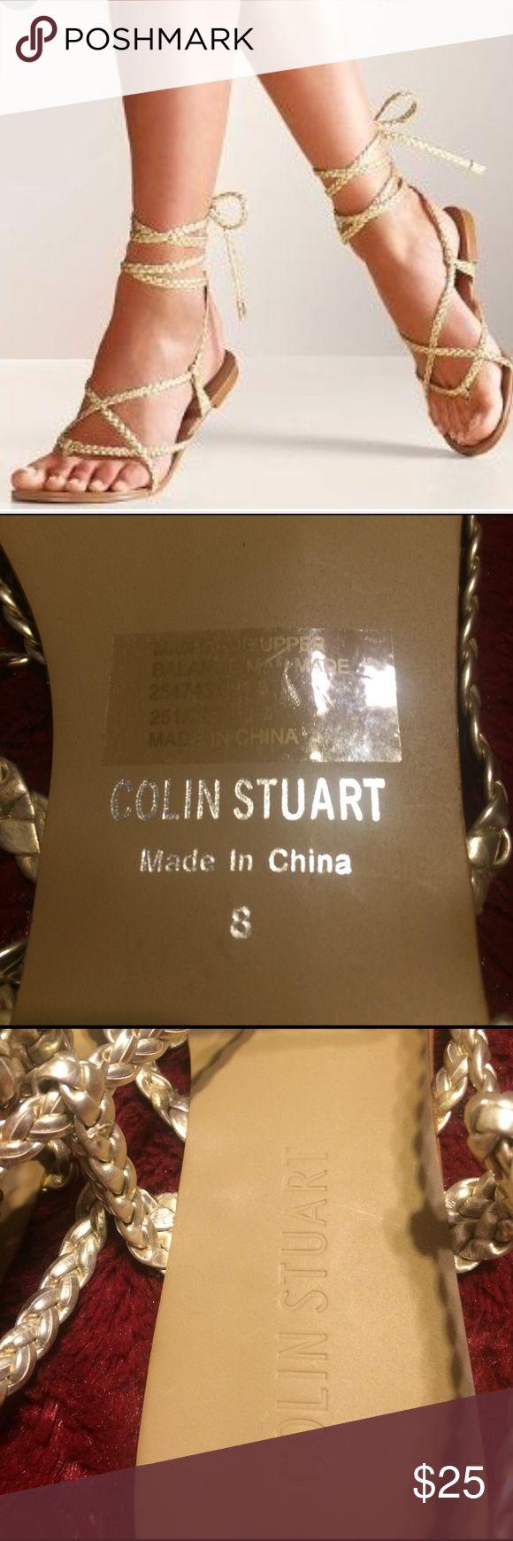 Colin Stuart Gold Braided Ankle Strap Sandals NWOT Colin Stuart Gold Braided Ankle Strap Sandals never worn Size 8 Colin Stuart Shoes Sandals