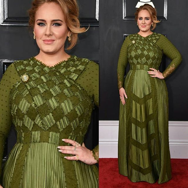 Okayyyy @adele in @givenchyofficial for the #grammys who just scored best pop album! Congrats Adele, and heyyyyyy boo.  #redcarpetcurves #tcfstyle #curvyfashionistas #plussizefashion #plus_isamust