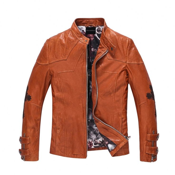 Harley style Leather Jacket Men Embroidery Motorcycle Jacket For Men Slim Fit Real Goatskin Rider Outerwear Short Casual Jacket