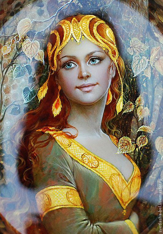 Купить Осень Ненаглядная... - лаковая миниатюра, шкатулка, Федоскино, живопись маслом, авторская ручная работа
