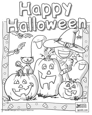 Happy Halloween Coloring Page By Jen Goode