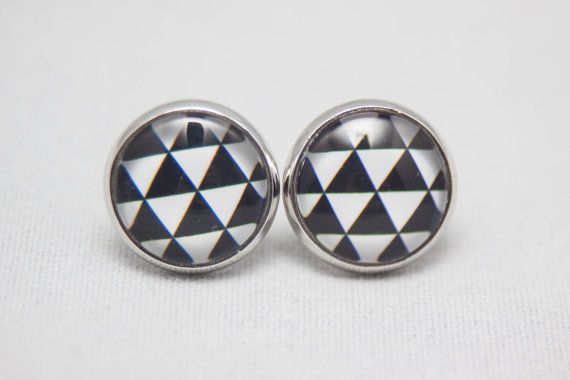 Glass Cabochon Earrings  Black And White Geometric by JagerAndYarn, $6.00