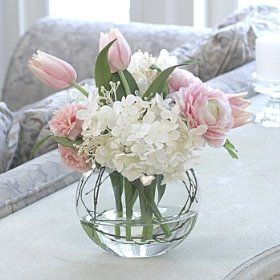 Tulip, hydrangea and peony arrangement in palest pink.