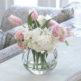 Tulip, hydrangea and peony arrangement in palest pink.