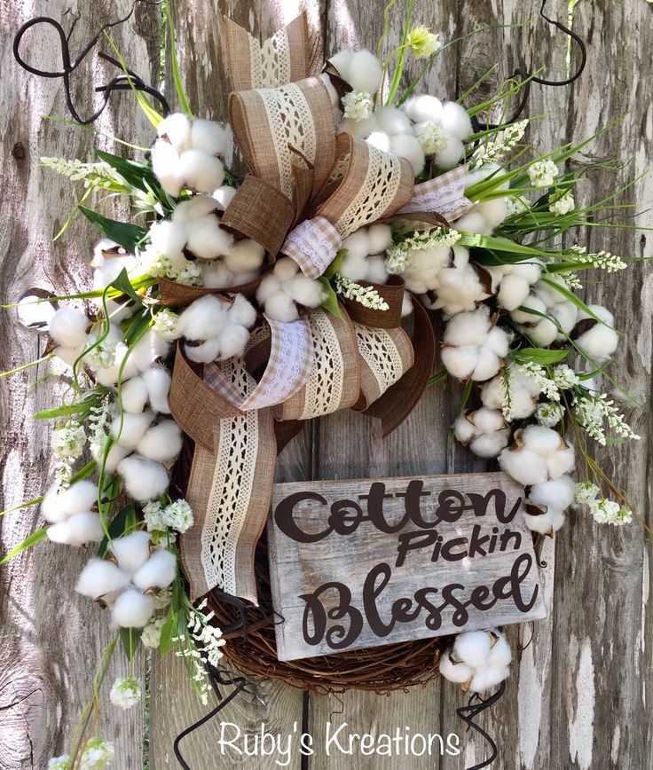 Cotton Pickin Blessed Wreath - Spring Wreath - Summer Wreath - Grapevine Wreath