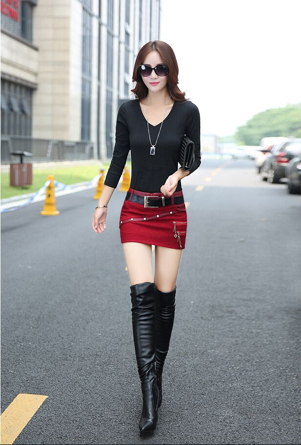 2017 autumn and winter Fashion sexy Tight Stitching PU mini skirt for girls female women clothing clothes
