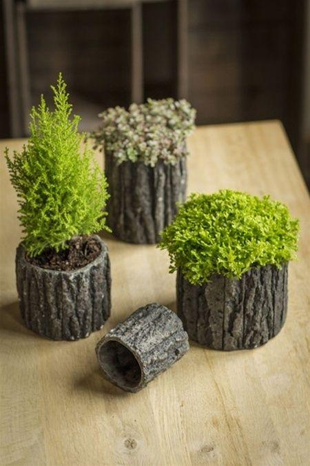 Concrete Pots with Bark-Like Detailing $11