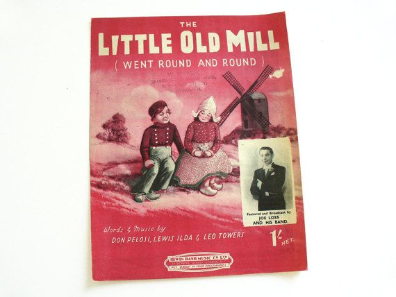 1940s sheet music with lyrics  The Little Old Mill by RetroDelia