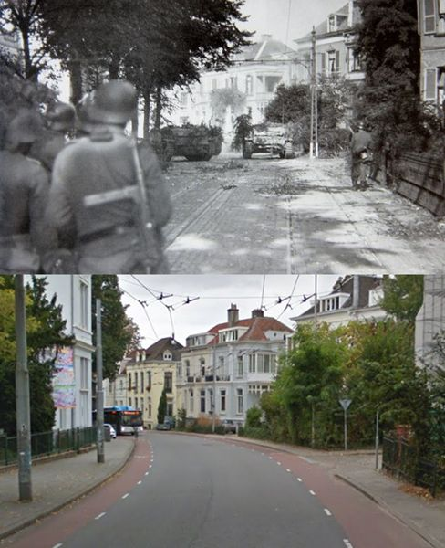 Then and Now WWII:  German units advance cautiously along Utrechtseweg, Arnhem, the Netherlands, in September 1944, during the Allies ill-fated Operation Market Garden.
