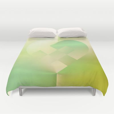 Danish Heart Mint Gold Duvet Cover by Gréta Thórsdóttir - $99.00  #love #heart #holiday #Christmas #mint #gold #ombre #pattern