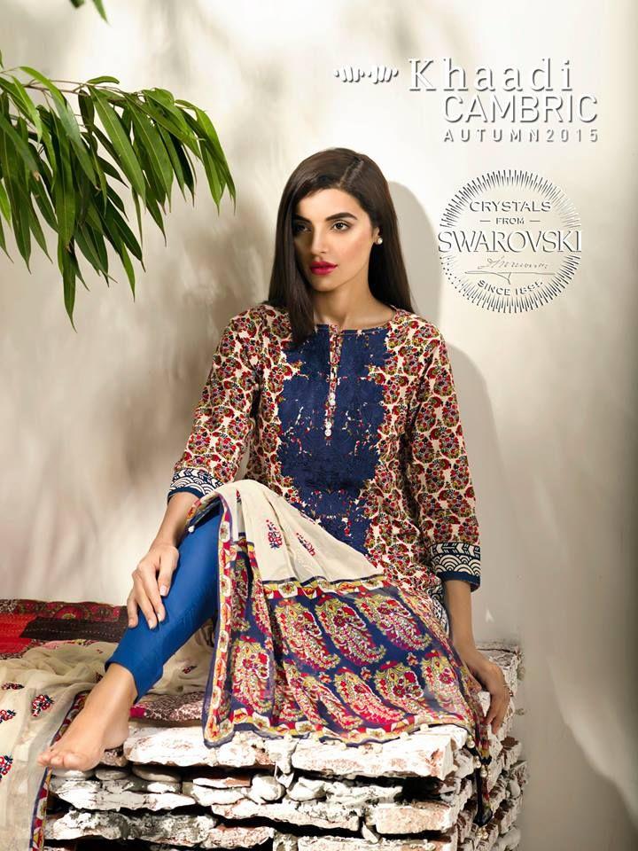 Khaadi Cambric Autumn/Eid Embroidered Dress Collection 201 http://clothingpk.blogspot.com/2015/08/khaadi-cambric-autumn-eid-embroidered-collection-2015.html
