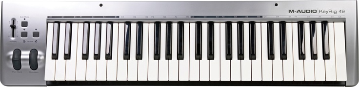M-Audio KeyRig 49 - I opted for a larger keyboard because having only two octaves can be somewhat limited, I also wanted to make more complicated music. The action on this is really solid and its velocity sensitive making this a steal for me.