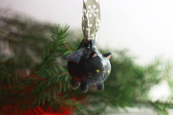 Flying Cat Ornament/ Christmas Cat Ornament/ Xmas Decoration/