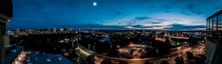 """riverfront park red lion"" reception wedding spokane at night panorama Matt Shumate Photography"
