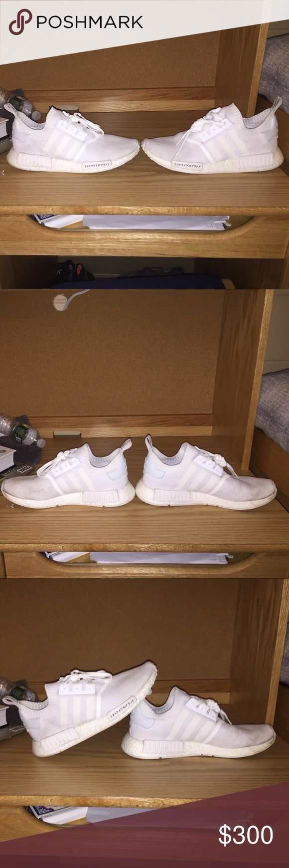 "Adidas NMD R1 PK ""Japan Boost"" Adidas NMD R1 PK ""Japan Boost"" - Triple White. Have been worn to walk to class and on special occasions. In great condition. If they get dirty the washing machine turns them back into being Triple White. If interested or any other questions- TEXT: 516-305-1108 adidas Shoes Sneakers"