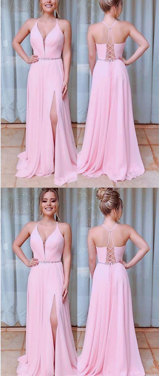 fec55f2d33 Modest Pink V-neck Split Criss Cross Back Prom Dress in 2019