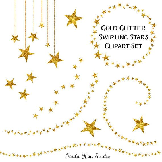 60% OFF SALE Star Clipart, Glitter Clip Art, Gold Star Clipart, Gold Clip Art, Digital Download, Commercial Use