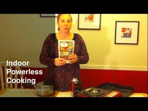 Using a cheap butane stove is a great option for powerless cooking INSIDE the house.  Learn more at http://foodstoragemadeeasy.net/2012/01/26/indoor-powerless-cooking-butane-stoves/