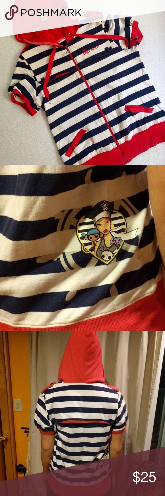 """Tokidoki Short Sleeved Hoodie Sweet little short sleeved nautical hoodie with white and navy stripes and coral hood and accents. Tokidoki character and button flap on back. Great condition. Is a child's XL but could also fit adults. Modeled on 5'9"""" size 8 woman. tokidoki Shirts & Tops Sweatshirts & Hoodies"""