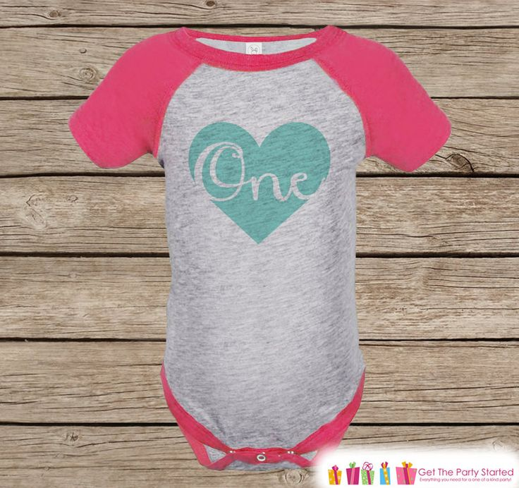 First Birthday Outfit - One Pink Raglan Shirt - 1st Birthday Onepiece For Girl Birthday Party Tee - Girls Birthday Shirt - Teal Heart Script