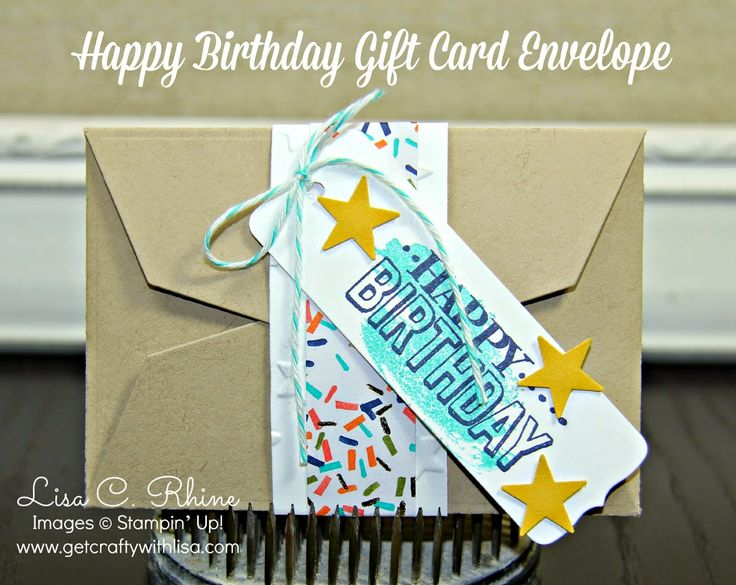 Get Crafty with Lisa:  Nifty Gift Giving Happy Birthday Gift Card Envelope.  This gift card envelope features Stampin' Up!'s Gift Card Envelope & Trims Thinlits Dies, Big Day Stamp Set and Work of Art Stamp Set, by Lisa Rhine, www.getcraftywithlisa.com