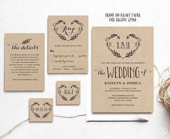 Rustic Wedding Invitation Template, Printable Invitations, Kraft wedding Invitation, 3 Colors Included, Editable Text, Heart Wreath