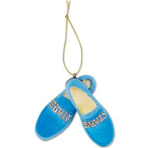 "You can't step on these blue suede shoes; they'll be on our tree!  Features ""Elvis"" in gold letter and silver medallions across each shoe. Resin.  (3 ¼"")."