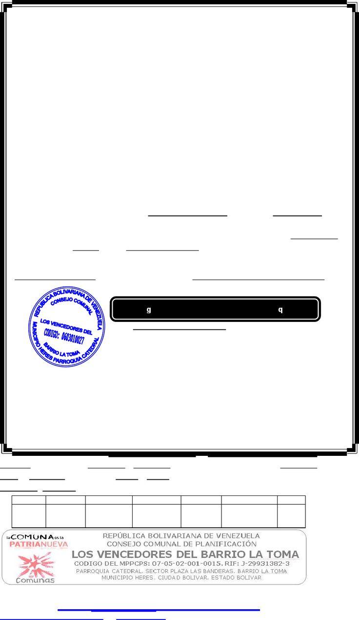 Consejo Comunal Carta de Concubinato