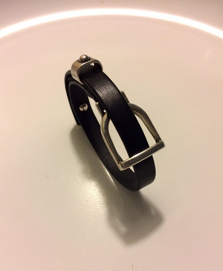 Antique Silver Stirrup Slide Leather Bracelet by FreeReinDesigns
