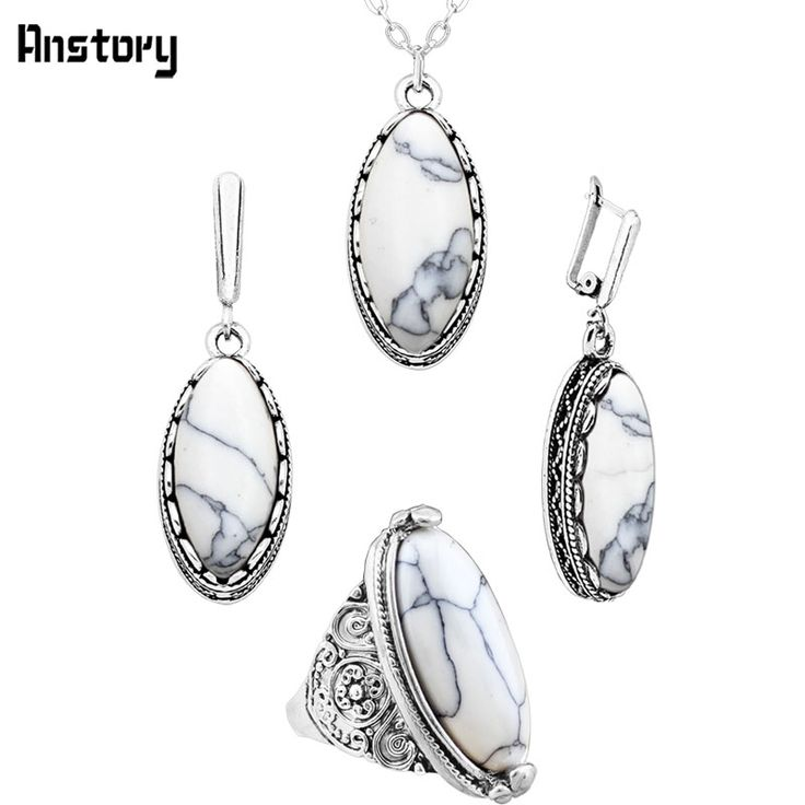 Anstory Eye Shape Necklace Earrings Ring Turquoise Jewelry Sets Antique Silver Plated Stainless Steel Chain TS277
