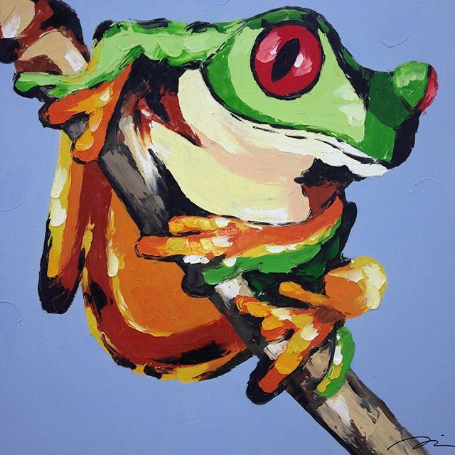#frog #art #painting #colorful #green #blue #canvas