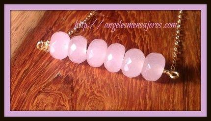 Rose Quartz bar bracelet, so cute .   collar cuarzo rosa,cuarzo rosa, cristales,joyeria cristales de cuarzo,rosa cuarzo