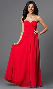 Shop removable spaghetti-strap dresses and empire-waist gowns at Simply Dresses. Strapless long dresses and bridesmaid dresses with corset backs.