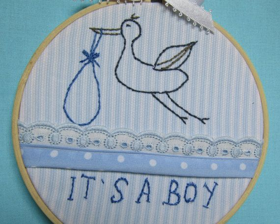 Embroidered 5 wooden hoop ornaments baby by babysdreamfairytales