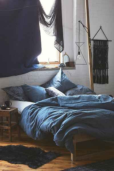 Assembly Home Linen Blend Duvet Cover in blue - Urban Outfitters