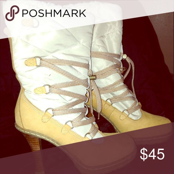 Tan Laced Winter Boots Beautiful tan/off white winter boot with heel. Like New. Shoes Heeled Boots