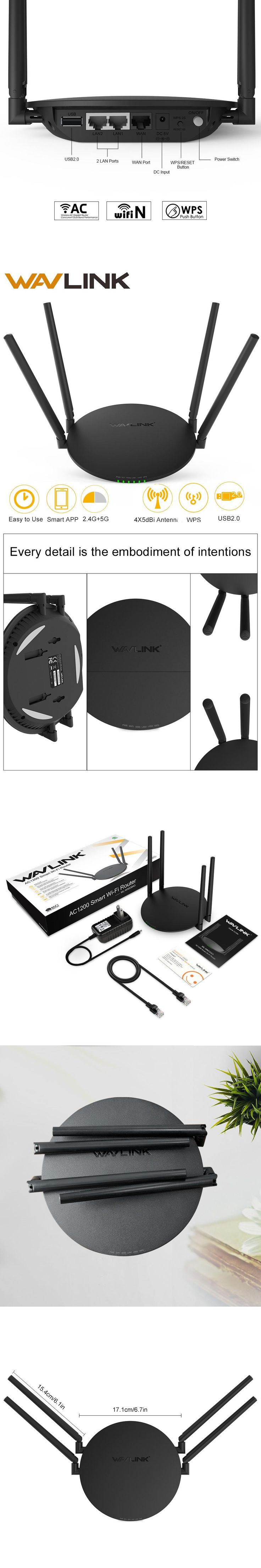 Newes Wavlink AC1200  2.4GHz&5GHz Smart Dual Band Wifi Router AC 5Ghz Wireless Router A802.11ac With 4 external Antennas&USB2.0