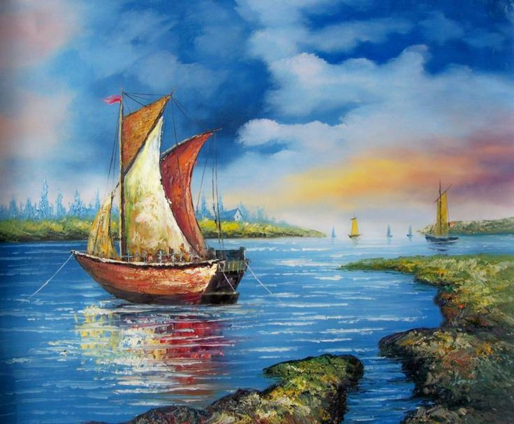 Fishing boats oil painting painting oil painting