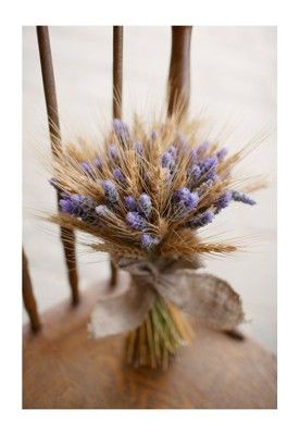 country posy of wheat, lavender and tied with a hessian bow