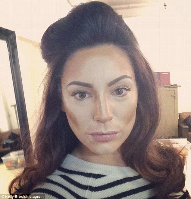 Contouring close-up: Kelly Brook posted a picture of herself mid make-up application on Tuesday from the set of a photo shoot with celebrity make-up artist Gary Cockerill