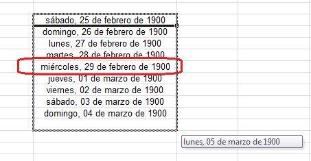 Aunque no lo fue, Microsoft Excel trata el año 1900 como si fuera bisiesto y contempla el inexistente 29 de febrero de ese año. Por lo mismo, todos los días de la semana desde el 1 de enero de ese año hasta esa fecha son incorrectos (por ejemplo, el 28 de febrero fue miércoles, no martes). ¿La razón