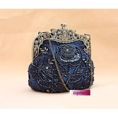 Navy Blue Beaded Victorian Fashion Wedding Evening Clutches Purses Sku 1110067