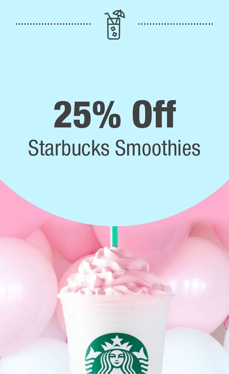 Right now Target Cartwheel, is offering 25% off Starbucks Smoothies when you present this coupon (printed or Cartwheel digital) to a Starbucks located inside participating Target Stores