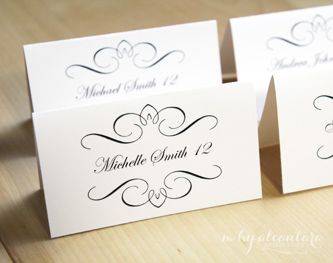 Instant download computer editable printable place cards template