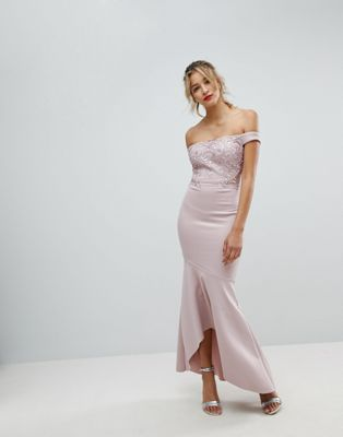 Lipsy Embroidered Lace Detail Maxi Dress