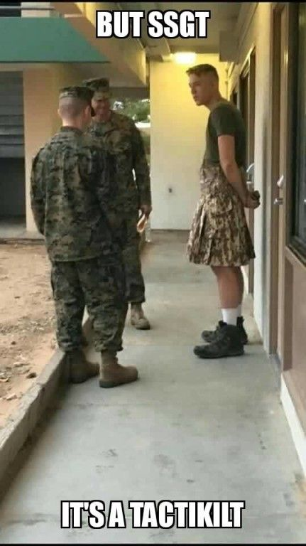 """You can't dismiss my Scottish heritage like this, staff sergeant."" (via F'N Boot.)"
